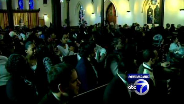 Church members hold service after fire