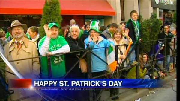 People come out for St. Patrick's Day Parade