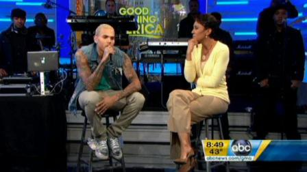 Chris Brown and Robin Roberts during Good Morning America on Tuesday, March 22, 2011.