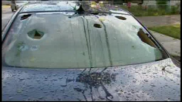 Hail pounds down on the New York area