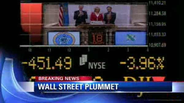 Dow falls 500 points in first hour of trading