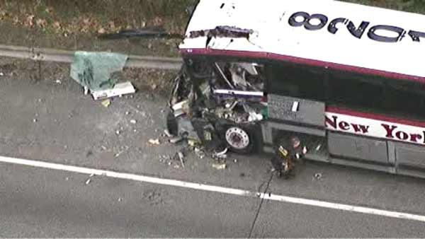 Bus rear ends truck on NYS Thruway