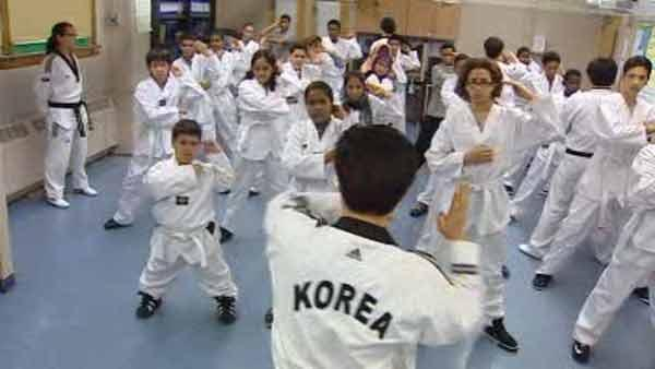 Taekwondo class teaches teamwork and discipline in schools