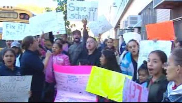 Parents protest at PS 137 on the Lower East Side