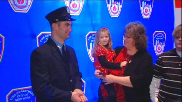 FDNY Firefighter meets 6-year-old bone marrow recipient