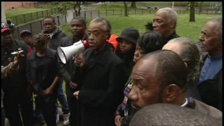The Rev. Al Sharpton led a prayer vigil Saturday for Tamon Robinson, the Brooklyn man struck and killed by a police cruiser.