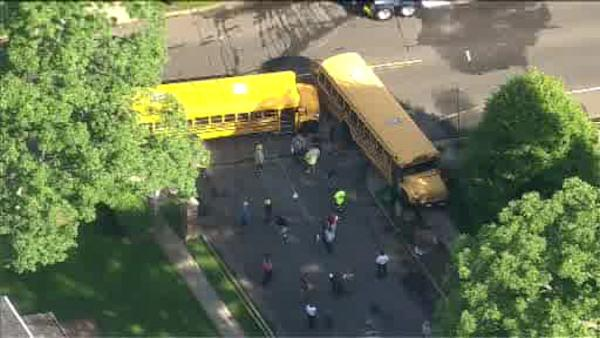 2 school buses collide on Long Island
