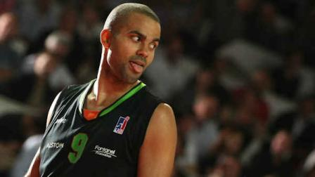 ASVELs Tony Parker of France reacts during his French ProA basketball match against Cholet in Cholet, western France, Saturday, Oct. 29, 2011. (AP Photo/Vincent MICHEL)