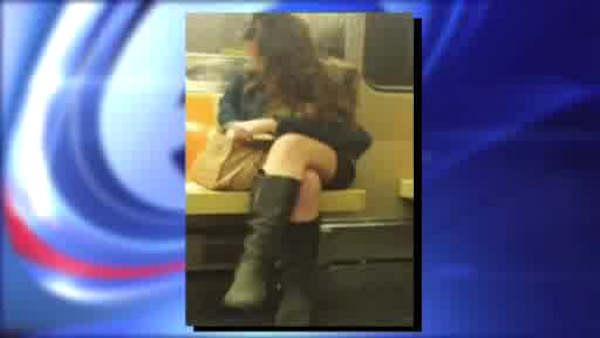 Women secretly videotaped by a man while riding the subway