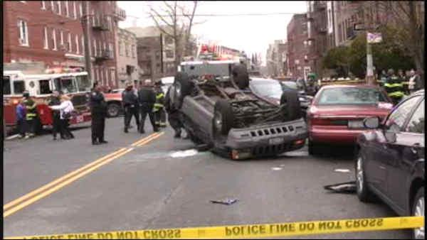 Multiple pedestrians hurt after car flips in Brooklyn