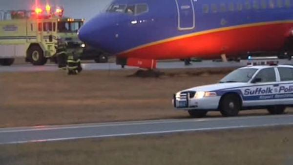 Southwest Airlines plane gets stuck in mud on Long Island