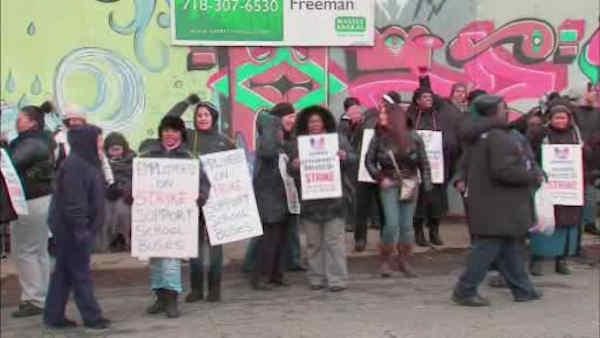 Heated protests Tuesday over replacement bus drivers