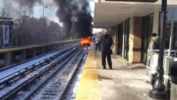 LIRR train, car collide in Brentwood