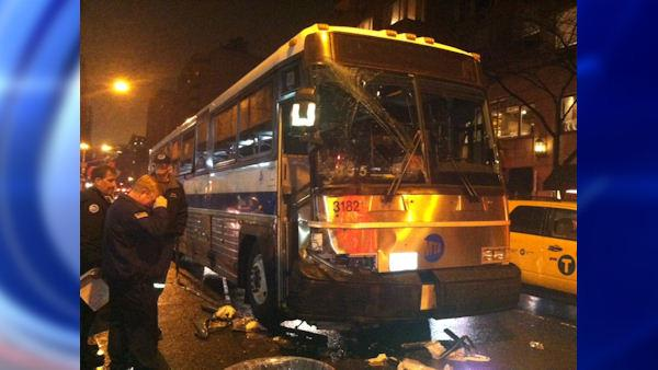 MTA bus driver blacks out, crashes on Upper East Side