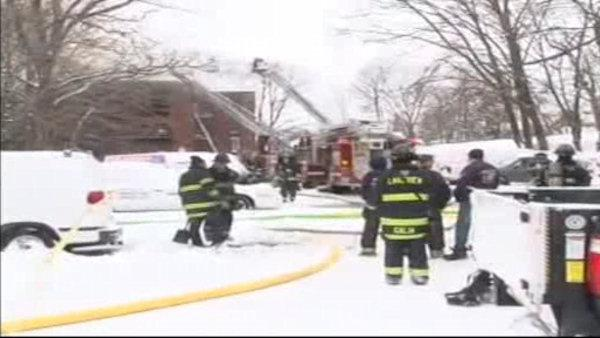 A five-alarm fire breaks out at a Long Island apartment building