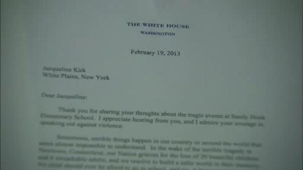Little girls write President, he writes back