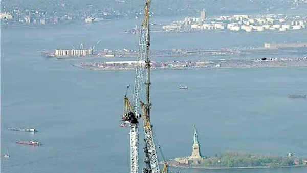 world trade center spire installed