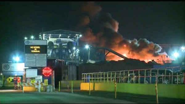 jersey city recycling plant fire