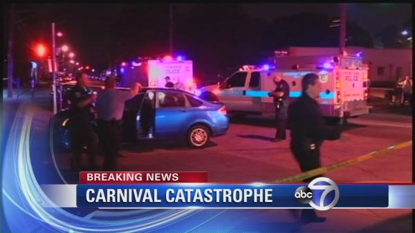 Out-of-control car hits people at carnival