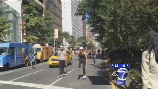 Broadway Bomb skateboarders skate anyway without permit