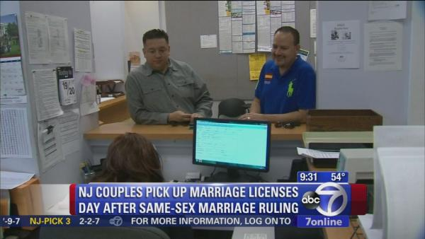 Same-sex couples apply for marriage licenses in New Jersey