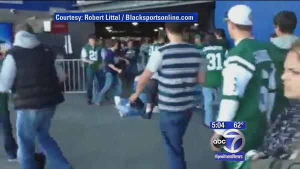 Jets and Patriots fans fight after game
