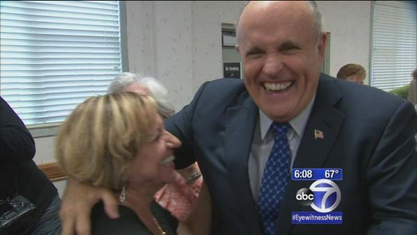 Former Mayor Rudy Giuliani campaigns for Joe Lhota