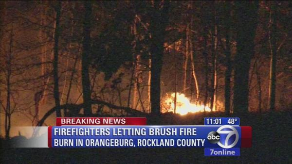 Brush fire continues to burn in Rockland County