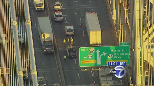 Crews work to fix hole on GWB