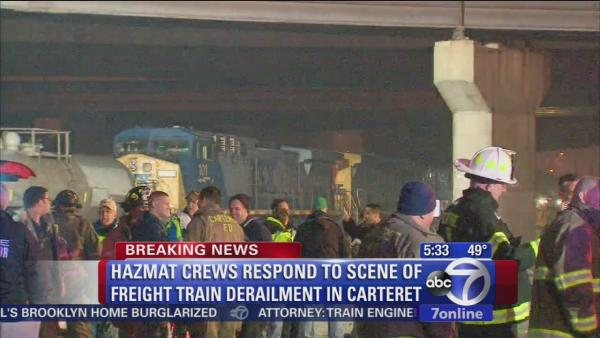 Hazmat on the scene of Carteret freight train derailment