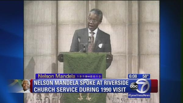 Mandela spoke at Riverside Church service during 1990 visit