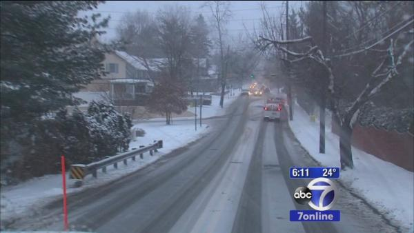 Snow creating slippery road conditions in NJ