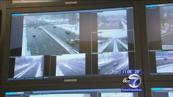 Sanitation Department tracking snow plows in Manhattan