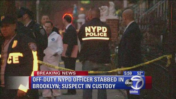NYPD off-duty cop stabbed; suspect in custody
