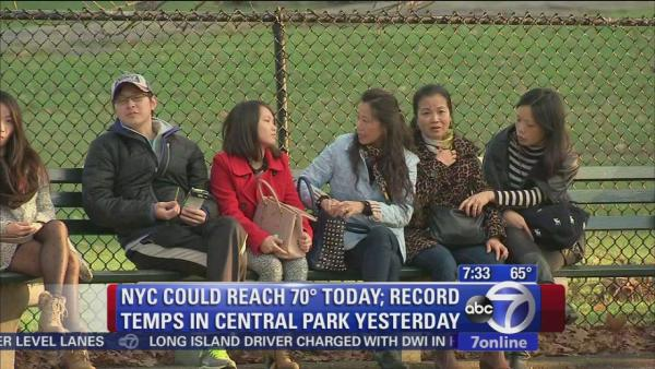 Record warmth arrives in New York area