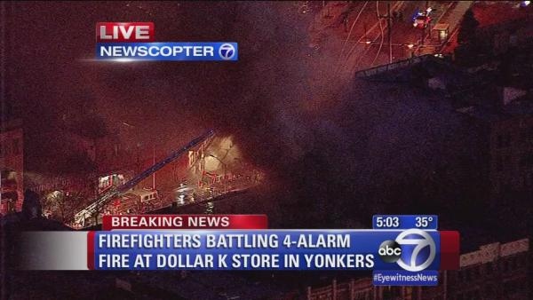 Fire burning through a store in Yonkers