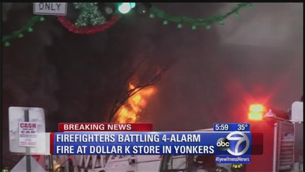 Major fire burning in Yonkers Dollar K store