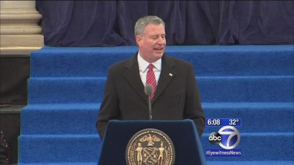 New York City celebrates de Blasio as new mayor
