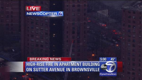 Chopper video of high-rise apartment fire in Brownsville