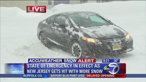 Cars spinning out on slippery NJ roads