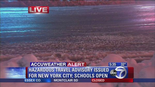 Slushy mess making travel difficult across New York City