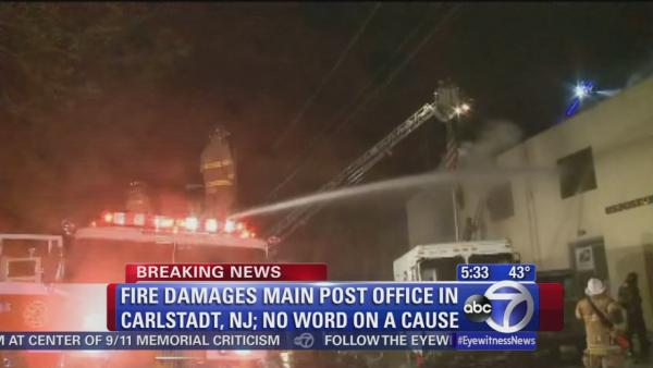 Fire tears through main post office in Carlstadt