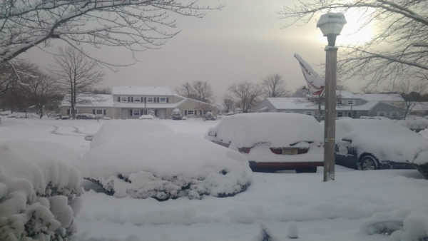 Snow in Barnegat, New Jersey.
