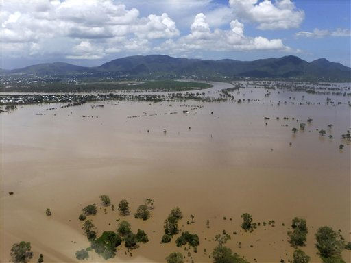 In this image provided by the Rockhampton Regional Council, water inundates the outskirts of Rockhampton, Australia, Tuesday, Jan. 4, 2011. Residents of Rockhampton, cut off by some of the country&#39;s worst flooding in decades are being warned to stay out of the water, and not just because of the risk of being swept away: Debris, snakes and even crocodiles could also pose a danger.  &#40;AP Photo&#47;Rockhampton Regional Council&#41; EDITORIAL USE ONLY <span class=meta>(AP Photo&#47; Anonymous)</span>