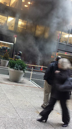 "<div class=""meta ""><span class=""caption-text "">Several floors of a building were evacuated after a transformer fire on West 51st Street in Midtown.  (Madison Bohunicky)</span></div>"