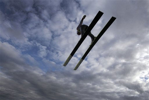 A ski jumper soars through the air at the ski jumping during the Nordic Combined World Cup in Schonach, Germany, Saturday, Jan. 8, 2011.   &#40;AP Photo&#47;Frank Augstein&#41; <span class=meta>(AP Photo&#47; Frank Augstein)</span>