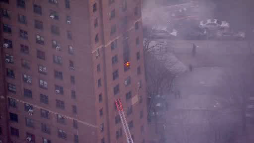 NewsCopter 7 over a hi-rise fire at a NYC Housing Authority development building on Sutter Avenue in the Brownsville section of Brooklyn.