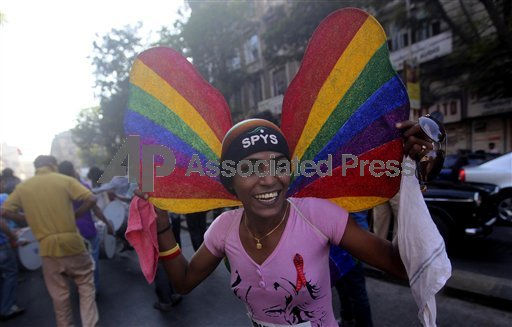 An Indian gay rights supporter dances during the Freedom Mumbai March in Mumbai, India, Saturday, Jan. 29, 2011. A landmark court ruling decriminalized homosexuality on July 2, 2009, marking the gradual acceptance of gays in the deeply conservative country.  <span class=meta>(&#40;AP Photo&#47;Rafiq Maqbool&#41;)</span>