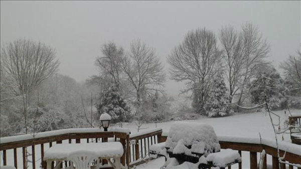 Snow in Milford, NJ in Hunterdon County on February 3, 2014. <span class=meta>(WABC Photo)</span>