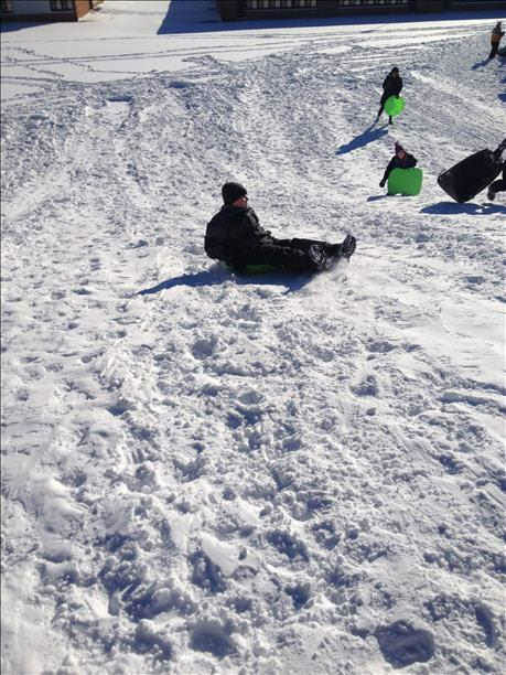 Sledding in the snow on February 3, 2014. <span class=meta>(WABC Photo)</span>